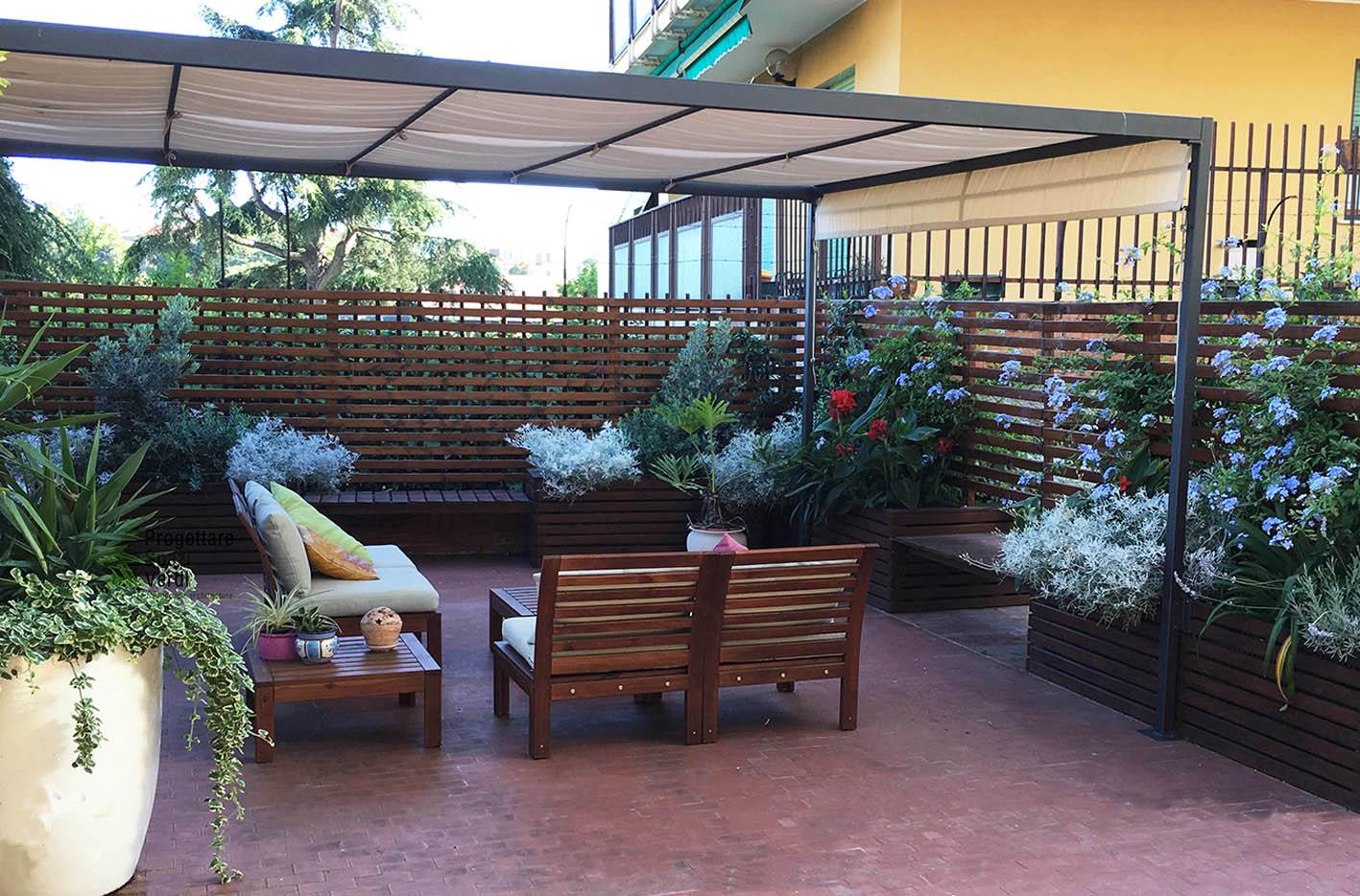 Legno e colori - Progettazione terrazzo Genova (2)
