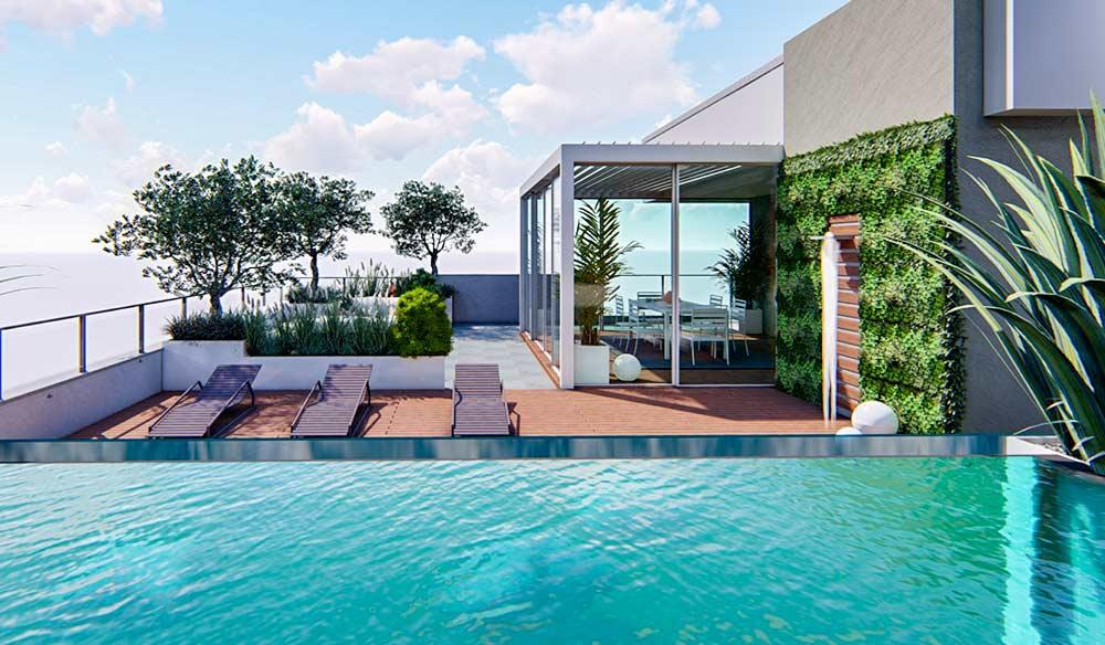 Progettazione piscina attico Milano
