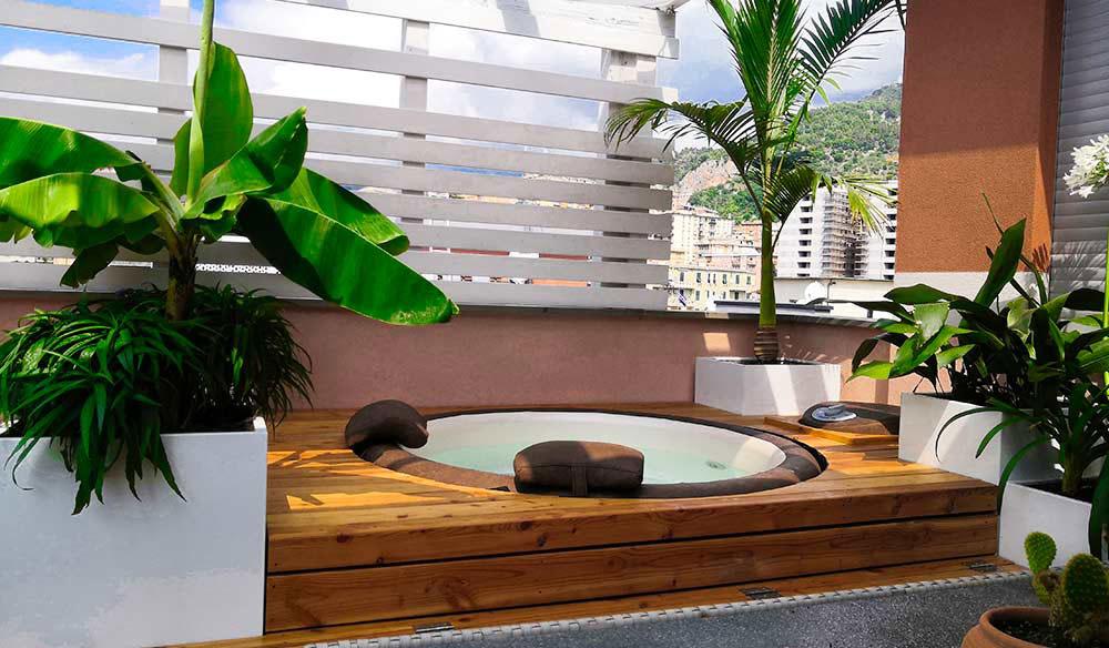 Una spa in terrazzo